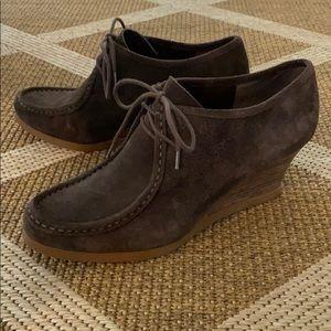 Ralph Lauren Denver Suede Leather Wedge Bootie 10